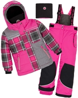 Deux par Deux Girls' 2-Piece Snowsuit Fall in Love Fuchsia