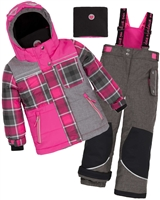 Deux par Deux Girls' 2-Piece Snowsuit Fall in Love Charcoal
