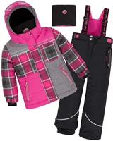 Deux par Deux Girls' 2-Piece Snowsuit Fall in Love Black
