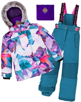Deux par Deux Girls' 2-Piece Snowsuit Magic Hour Green