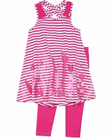 Deux par Deux Striped Tunic and Leggings Set Flower Fields