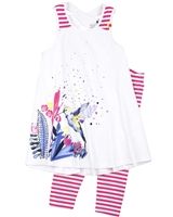 Deux par Deux Printed Tunic and Leggings Set Flower Fields