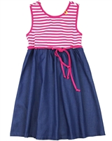 Deux par Deux Striped Jersey and Tencel Dress Flower Fields