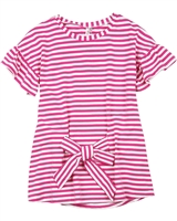 Deux par Deux Striped Top with Knot Flower Fields