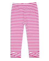 Deux par Deux Striped Capri Leggings Flower Fields