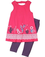 Deux par Deux Fuchsia Tunic and Leggings Set Gather Thistles, Expect Prickles