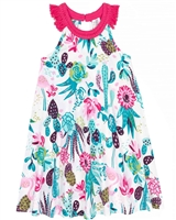 Deux par Deux Cactus Print Dress Gather Thistles, Expect Prickles