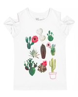 Deux par Deux White T-shirt with Print Gather Thistles, Expect Prickles
