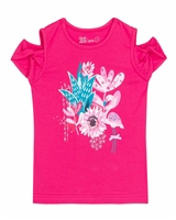 Deux par Deux Fuchsia T-shirt with Print Gather Thistles, Expect Prickles