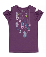Deux par Deux Purple T-shirt with Print Gather Thistles, Expect Prickles