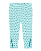 Deux par Deux Turquoise Capri in Cross Print Gather Thistles, Expect Prickles