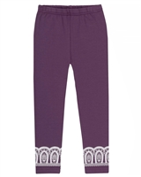 Deux par Deux Purple Capri with Lace Print Gather Thistles, Expect Prickles
