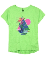 Deux par Deux Cropped Slub T-shirt in Green Coco Palms