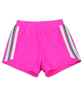 Deux par Deux Athletic Shorts in Fuchsia Coco Palms