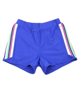 Deux par Deux Athletic Shorts in Blue Coco Palms