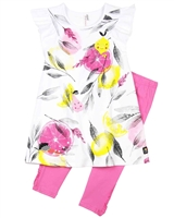 Deux par Deux Tunic and Leggings Set in Pink Zest of Lemon
