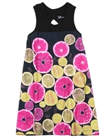 Deux par Deux Citrus Print Dress Zest of Lemon