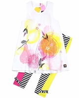 Deux par Deux Tunic with Print and Leggings Set Zest of Lemon