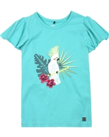 Deux par Deux Green T-shirt with Flounced Sleeves The Cockatoo Edit