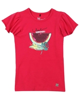 Deux par Deux Fuchsia T-shirt with Flounced Sleeves The Cockatoo Edit