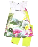 Deux par Deux Tropical Print Jersey  Tunic and Biker Shorts Set The Cockatoo Edit