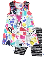 Deux par Deux Printed Tunic and Printed Biker Shorts Set The Artist!