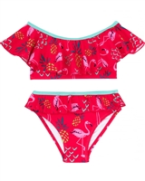 Deux par Deux Flamingo Print Bikini Splish Splash