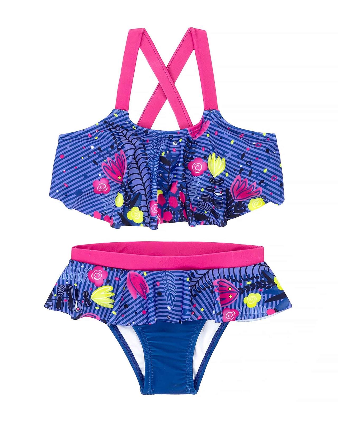 Sizes 18M-6 Deux par Deux Little Girls One Piece Rashguard Swimsuit Playa Del Mar