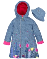 Deux par Deux Raincoat with Hat in Chambray and Flower Print