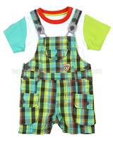 Deux par Deux Boys Plaid Overall Set Puff Doggy