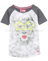 Dress Like Flo Top with Lion Print Gray