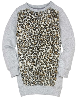 Dress Like Flo Sweatshirt Dress with Faux Fur
