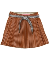Dress Like Flo Pleather Plisse Skirt Brown
