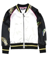 Dress Like Flo Feather Print Bomber Jacket in Black