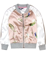 Dress Like Flo Feather Print Bomber Jacket in Pink