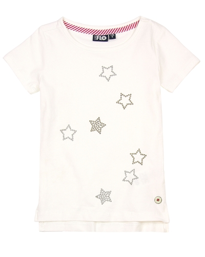 Dress Like Flo T-shirt with Stars in White