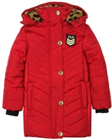 Dress Like Flo Quilted Puffer Coat in Red