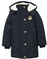Dress Like Flo Quilted Puffer Coat in Navy