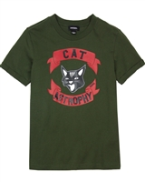 Diesel Boys T-shirt with Cat Tisco Green