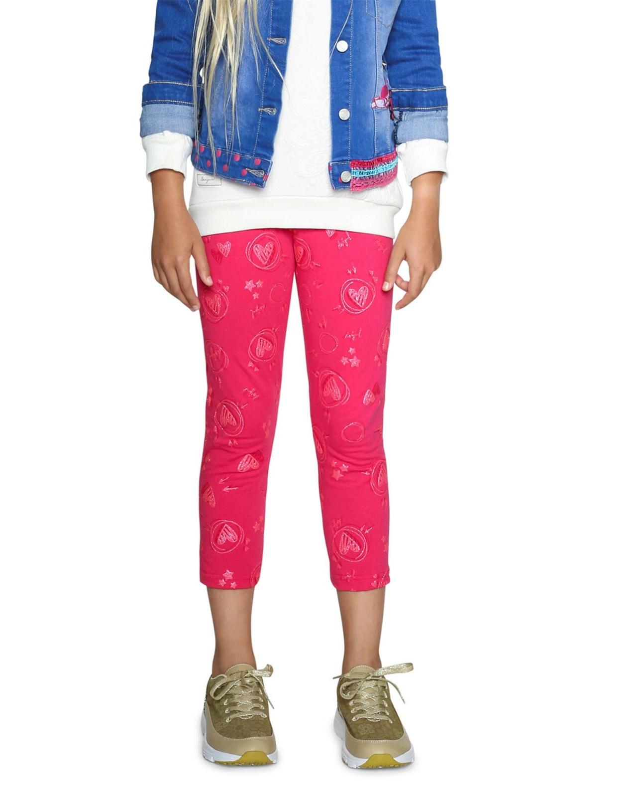 Sizes 5-14 Desigual Girls Leggings Floral in Fuchsia