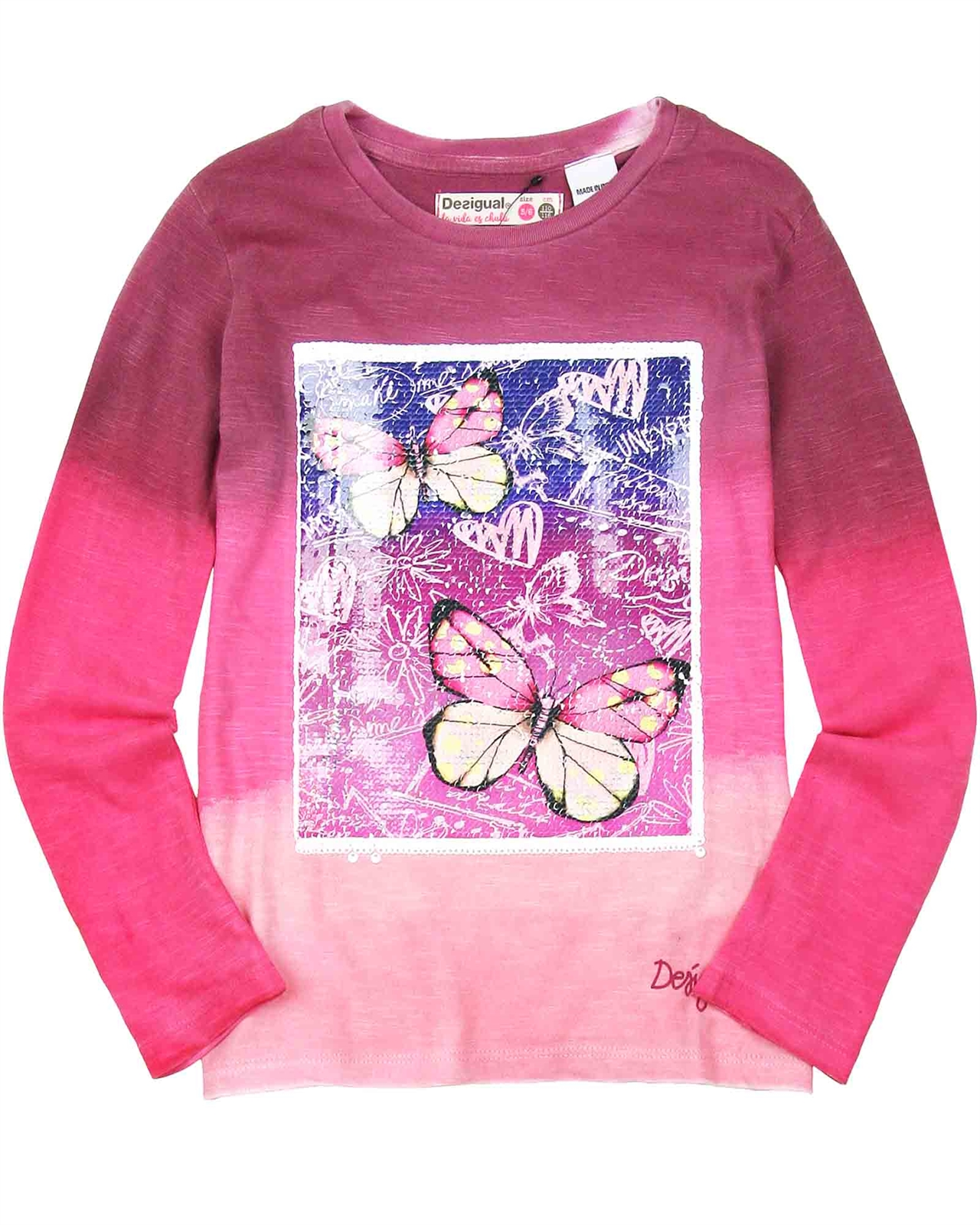 Desigual Girls T-Shirt Sequins in White Sizes 5-14