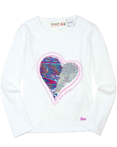 Desigual T-shirt Sequins in White
