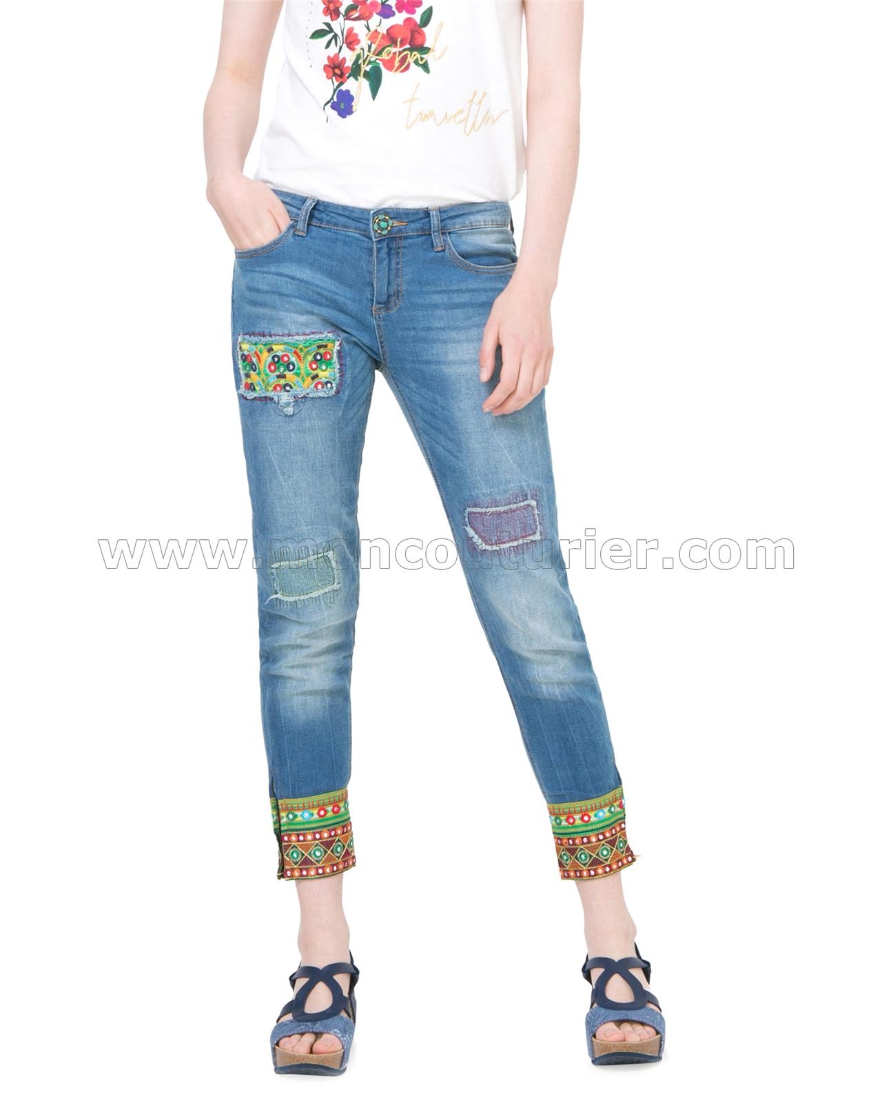 35185d1ba DESIGUAL Women's Denim Pants Ethnic Ankle, Sizes XS-XL