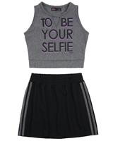 Gloss Junior Girls Cropped Top and Sporty Skirt Set