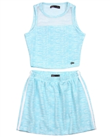 Gloss Junior Girls Jacquard Knit Sporty Top and Skirt Set