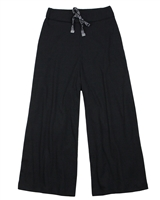 Gloss Junior Girls Rib Jersey Wide Pants in Black