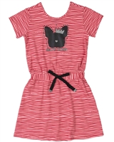 Gloss Girls Striped Jersey Dress with Cat Print