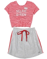 Gloss Girls Striped Cropped Top and Skirt Set