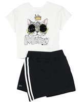 Gloss Girls T-shirt with Sequins and Skorts Set