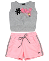 Gloss Girls Tank Top and Terry Shorts Set in Grey/Pink